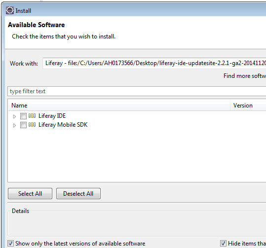 Configure Liferay plugin in Eclipse - available software