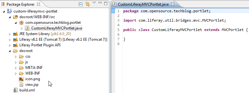Creating custom Liferay MVC portlet - Adding custom Portlet class