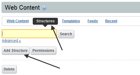 Web content with structure and template in liferay - Add Structure to create web content in Liferay