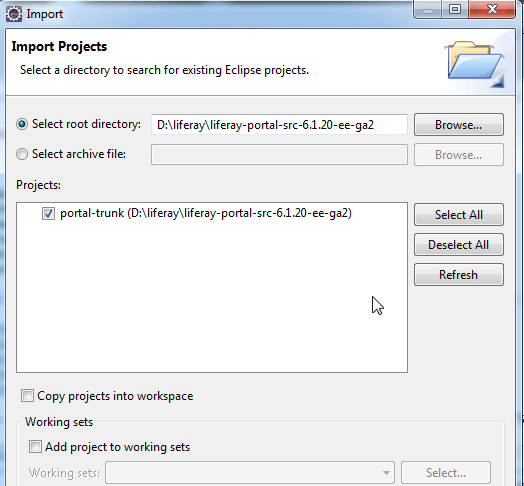 How to Import / Configure Liferay Source in Eclipse - import_src