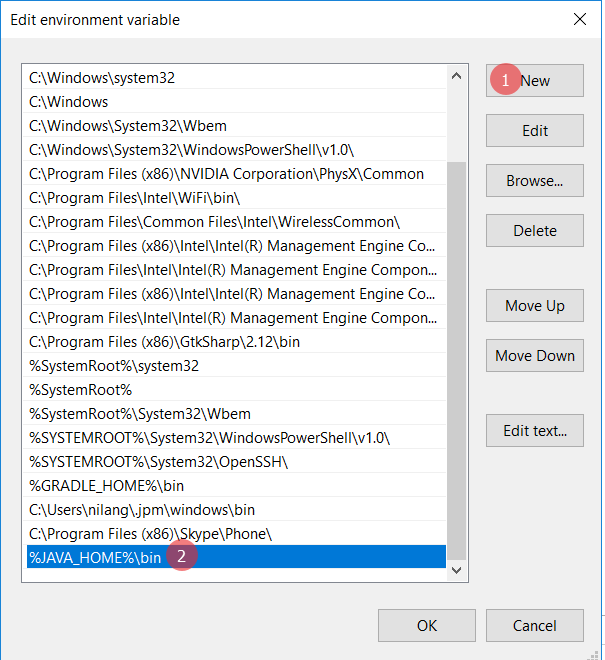 Set environment variable - Install Java