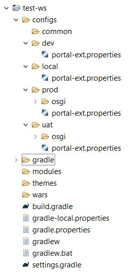 Liferay workspace project structure